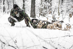 Armed forces. Special forces in winter patrol Royalty Free Stock Photography