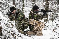 Armed forces. Special forces in winter patrol stock image