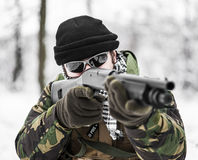 Armed forces. Special forces in winter patrol Royalty Free Stock Image