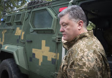 Armed Forces of Ukraine at the military training area. ZHYTOMYR REG, UKRAINE - May 27, 2016: President, Supreme Commander-in-Chief of the Armed Forces of Ukraine Royalty Free Stock Photo
