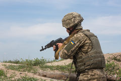 Armed Forces of Ukraine at the military training area Royalty Free Stock Images