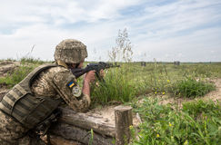 Armed Forces of Ukraine at the military training area Stock Photography