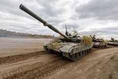 Armed Forces of Ukraine. ZHYTOMYR Reg, UKRAINE - Oct. 14, 2017: Column of tanks. Combat training of the Armed Forces of Ukraine in the training center of Royalty Free Stock Photos