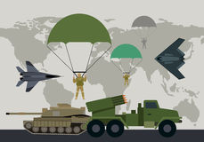 Armed Forces Vector Concept in Flat Design. Different types of armed forces. Paratroopers, fighter jet, bomber, tank, reactive artillery flat vector royalty free illustration