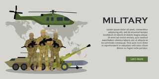 Armed Forces Vector Concept in Flat Design. Different types of armed forces. Soldiers in ammunition with guns, APC, cannon, rocket, helicopter flat vector vector illustration