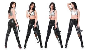 The armed girl Stock Image