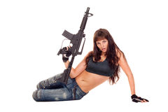 Armed girl posing Stock Photos