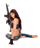 Armed girl posing Stock Images