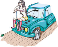 Armed girl sitting on a car. Color vector illustration Royalty Free Stock Images