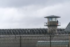 Guard Tower Barbed Wire Fence Boundary Federal Prison royalty free stock photography