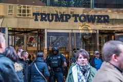 Armed guard at Trump Towers royalty free stock images