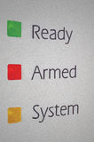 Armed home security alarm system panel macro Royalty Free Stock Image
