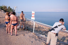 Armed Israelis at Dead Sea Stock Photos