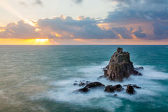 Armed Knight Land End. The rock formation known as the Armed Knight off the coast of Lands End Cornwall England UK Europe stock photos
