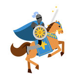 Armed knight riding horse medieval character, colorful  Illustration Stock Photos