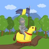 Armed knight riding horse on summer landscape background vector Illustration. In cartoon style Stock Photos