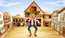 An armed man near the saloon Royalty Free Stock Images