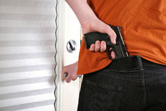 Armed man with semi-automatic Stock Photography