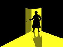 Armed man standing in the doorway. Man with gun in an open door. Light from the open door. Vector illustration Stock Image