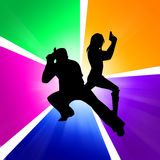 Armed man and woman. Standing in front of colorful background vector illustration