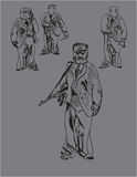 Armed Men. Illustration of fun armed security men in doodle style on grey Stock Image