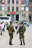 Armed militaries in the street of Medellin in Colombia Stock Photos