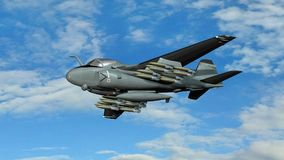 Armed military fighter jet in flight Royalty Free Stock Images