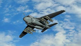 Armed military fighter jet in flight Stock Photography