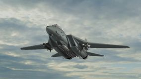 Armed military fighter jet in flight. In the sky Stock Photography