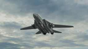 Armed military fighter jet in flight. In the sky Stock Images
