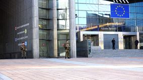 The armed military guard keeps order in front of the building of the European Parliament. Belgium, November 24, 2017, Brussels, the armed military guard keeps stock video