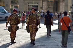 Armed military in the historic center in Florence, Italy Stock Photos