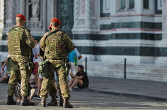 Armed military in the historic center in Florence Royalty Free Stock Images