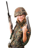 Armed military woman. Happy armed military woman isolated over white background stock photography