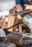 Oregon Armed Militia Standoff - Malheur Wildlife Refuge. An axe used to chop wood at the entrance to the Malheur Wildlife Refuge, located 30 miles south of Burns Stock Photo