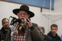 Oregon Armed Militia Standoff - Malheur Wildlife Refuge. A community member speaks at a packed town hall meeting concerning the armed occupation of the Malheur Royalty Free Stock Images