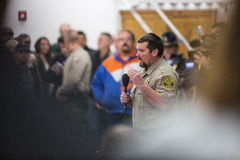 Oregon Armed Militia Standoff - Malheur Wildlife Refuge. Harney County Sherif, David Ward, addresses the community at a packed town hall meeting concerning the Royalty Free Stock Image