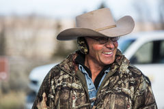 Oregon Armed Militia Standoff - Malheur Wildlife Refuge. LaVoy Finicum in a light moment just before this mornings press conference at the Malheur Wildlife Stock Image
