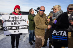 Oregon Armed Militia Standoff - Malheur Wildlife Refuge. PETA supported showed up to hand out vegan jersey to the supporters of the cause at the Malheur Wildlife Royalty Free Stock Photography
