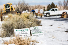 Armed Militia Standoff - Malheur Wildlife Refuge. Signs in from of the armed occupation of the Malheur Wildlife Refuge, located 30 miles south of Burns, Oregon Stock Photography