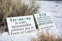 Oregon Armed Militia Standoff - Malheur Wildlife Refuge. Armed standoff supporters signs out in front of the Malheur Wildlife Refuge, located 30 miles south of Stock Images
