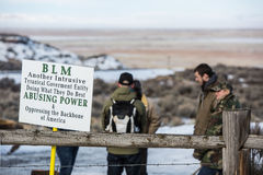 Oregon Armed Militia Standoff - Malheur Wildlife Refuge. Supporters stand at the entrance to the Malheur Wildlife Refuge, located 30 miles south of Burns, Oregon Royalty Free Stock Photos