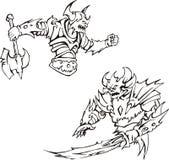Armed monsters. Black and white vector illustration stock illustration