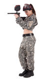 Armed paintball player Stock Photography