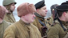 Armed people military uniform  Soviet Army. St. Petersburg, Russia, November 21, 2016 Group of armed people military uniform of  Soviet Army, Historical stock footage