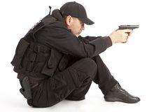 The armed person. Isolated on a white background Royalty Free Stock Images