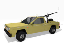 Armed pickup truck. 3d rendered pickup truck armed with machine gun Stock Images