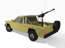 Armed pickup truck. 3d rendered pickup truck armed with machine gun Royalty Free Stock Photo