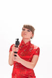 Armed with a pistol girl Royalty Free Stock Photos