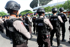 Armed police. Followed the briefing for the preparation of security in the city of Solo, Central Java, Indonesia royalty free stock photos